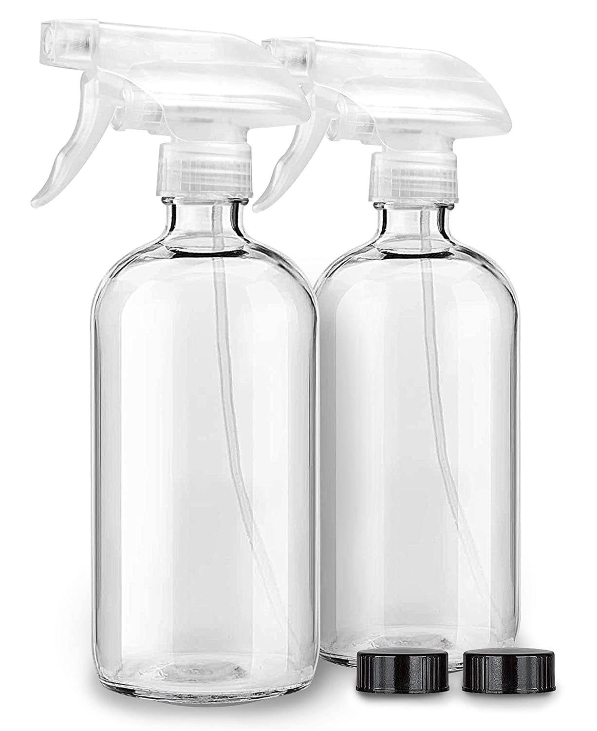 2 Pack Clear Glass Spray Bottles For Cleaning Solutions & Essential Oils - 16oz Empty Refillable Heavy Duty Container Bottle for Aromatherapy, Kitchen, Cooking, Hair & Perfumes - Mist & Stream Sprayer