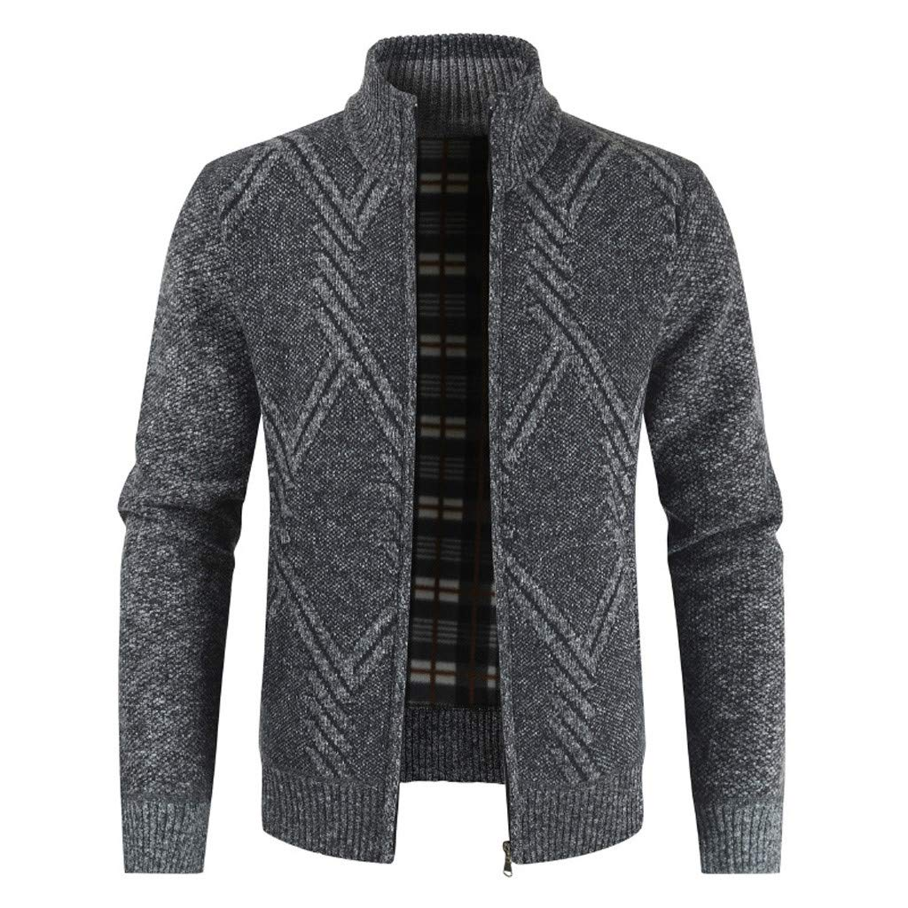 TIFENNY Winter Knit Sweater Coats Men's Casual Fashion Cardigan Sweater Jacket Stand Neck Long Sleeve Outwear Tops by TIFENNY