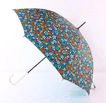 BiuTeFang Paraguas paraguas de mango largo paraguas de flores paraguas abierto automáticamente paraguas mango recto refuerzo
