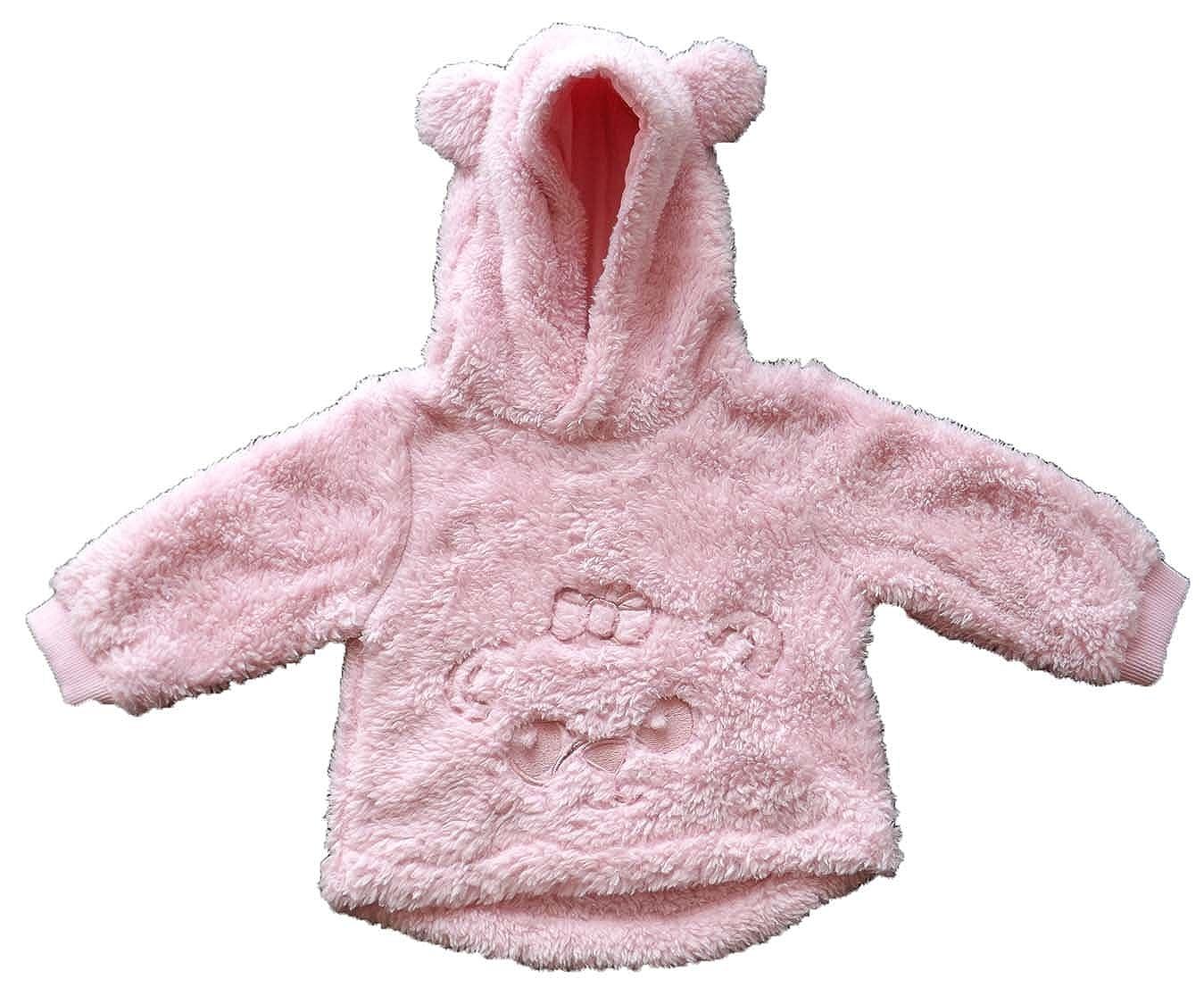 Sweat bébé Peluche à capuche - coloris Rose - du 6 au 23 mois