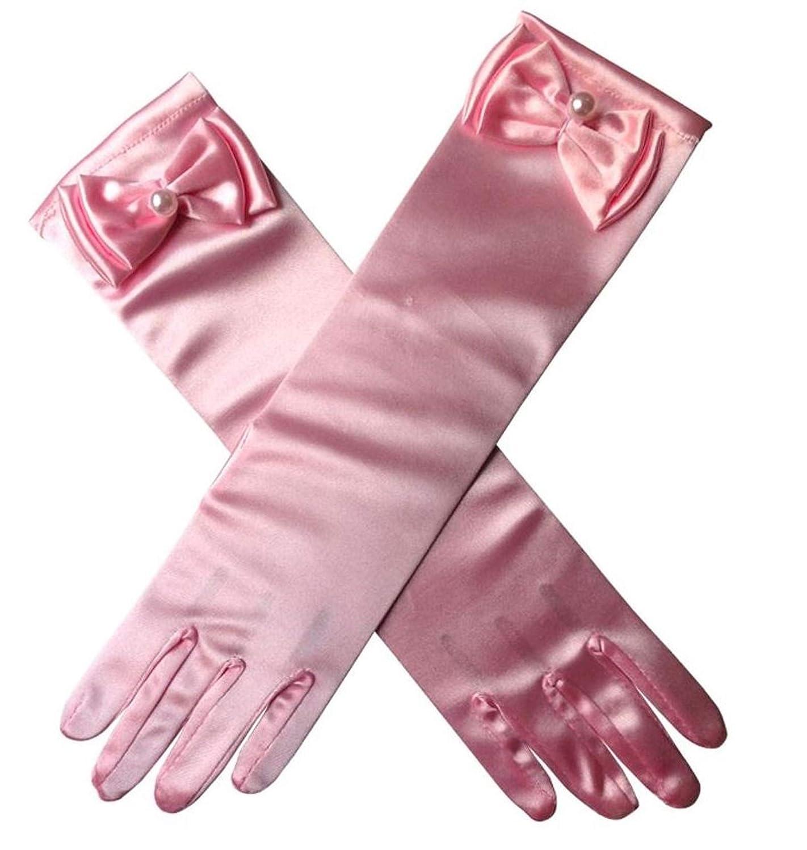 14 Color Aslana Satin Bowknot Long Glove for 3-8yrs Kids Flower Girls Princess Cosplay