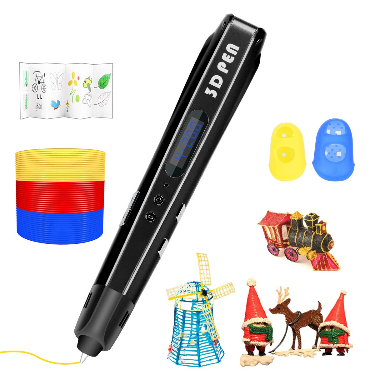 3D Pen 3D Printing Pen Adults DIY Blue Drawing 3D Printer Pen Artist 3D Pen Friends Compatible with PLA Filament,Doodling 3D Drawing Pen for Kids