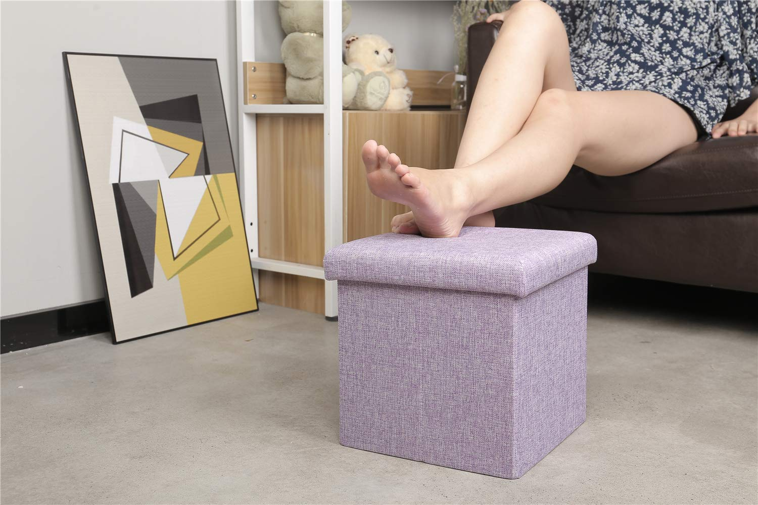 B FSOBEIIALEO Storage Ottoman Cube, Linen Small Coffee Table, Foot Rest Stool Seat, Folding Toys Chest Collapsible for Kids Purple 11.8''x11.8''x11.8''