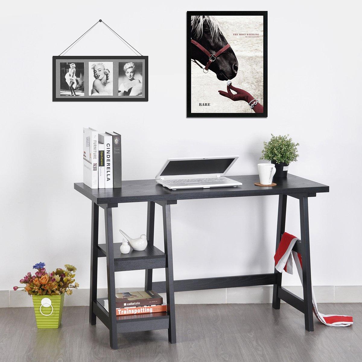 Innovareds, elegante e semplice scrivania salvaspazio, console perfetta per la casa, lo studio, l'ufficio, il soggiorno, il corridoio; dotata di mensole laterali, colore: nero l'ufficio Innovareds-uk