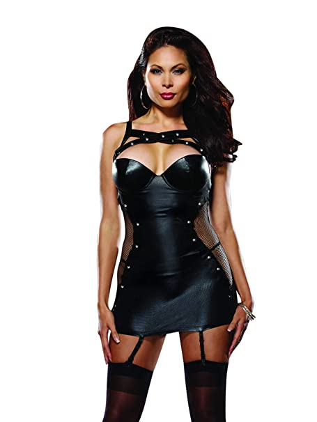 4032b0203 Amazon.com  Dreamgirl Women s Plus-Size Naughty By Nature Faux Leather  Garter Slip and Thong Set  Clothing