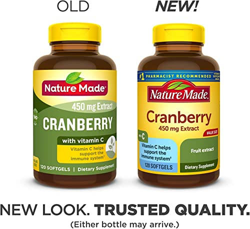 Nature Made Cranberry Vitamin C Softgels, 120 Count Value Size Packaging May Vary