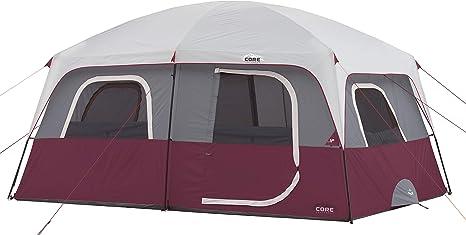 CORE 10 Person Straight Wall Cabin Tent (Wine): Amazon.co.uk