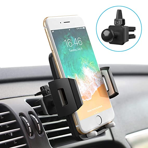 pretty nice b1630 31a7d Quntis Cell Phone Holder for Car, Universal Car Holder Phone Mount, Car Air  Vent Stand Cradle 360 Rotation Compatible with iPhone Xs XR X 8 7 6 Plus ...