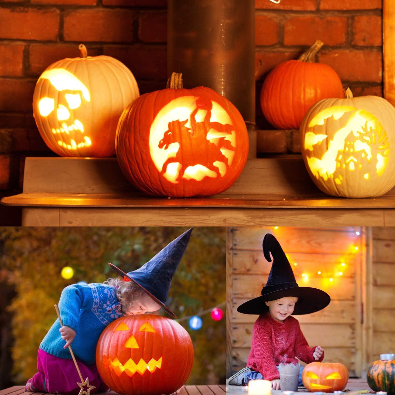 amarillo Zorara Set de Calabaza Tallado de Halloween 14 Piezas Talla Herramienta Calabaza Bricolaje para Acero Inoxidable Tallar Calabazas Cuchillo