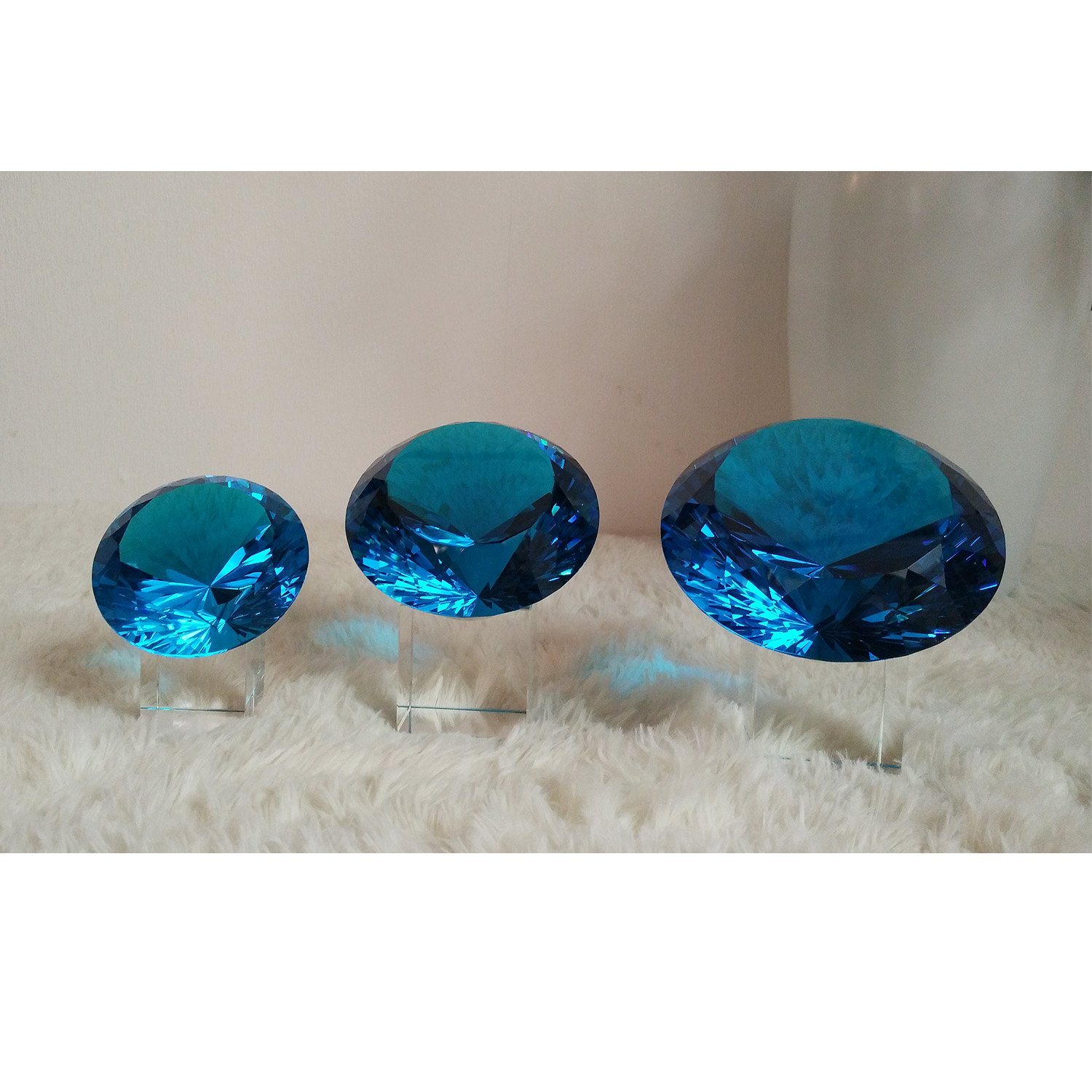 BRLIGHTING Cobalt Blue crystal Diamond Paperweight on stand for Office, Lovely Gift for Friends and Family (D120mm / 4.73'') by BRLIGHTING (Image #9)