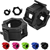 "Day 1 Fitness Quick-Release Safety Collars Set of 2 – Choose Size 1"" or 2"" - 5 Color Options, Weight Locking Clips: 1 inch St"