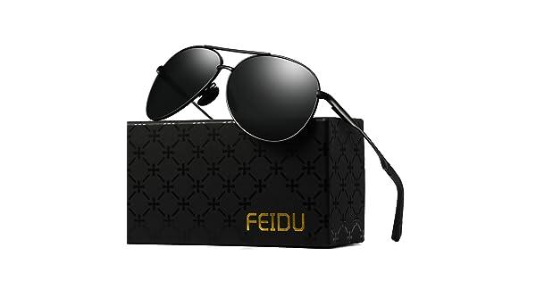 5fea0918a8be4 FEIDU Mens Polarized Aviator Sunglasses Metal Frame Unisex Sun Glasses  FD9001 (C-black black-1)