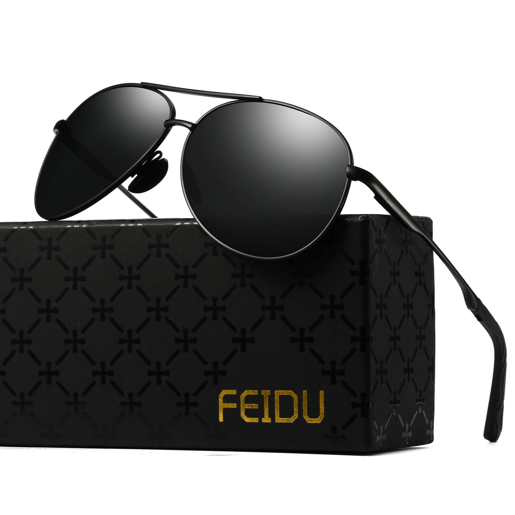 Polarized Aviator Sunglasses for Men - FEIDU Driving Sunglasses Unisex FD9002 (black/black-9002, 2.28) by FEIDU