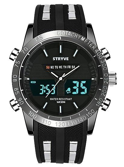 Reloj Deportivo Digital para Hombre Militar Big Face Impermeable Reloj analógico Cronómetro Army Shock Resistant LED Backlight Relojes de Pulsera para ...