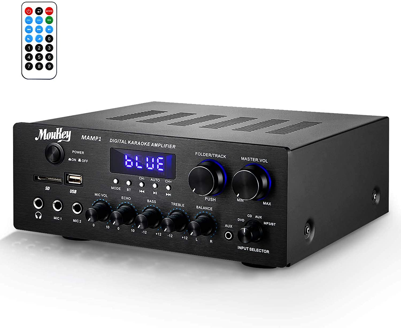 Amplificador de Sonido Moukey Amplificador de Potencia BT Audio Stereo Receptor de Audio Estéreo de Doble Canal 220W/ monitoreo/USB, SD, AUX, MIC IN/Eco, Radio, LCD