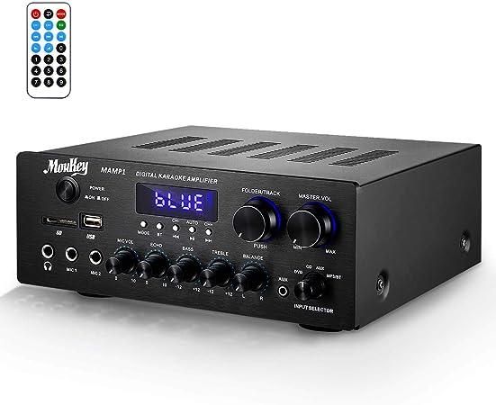 Amplificador de Sonido Moukey Amplificador de Potencia BT Audio Stereo Receptor de Audio Estéreo de Doble Canal 220W/ monitoreo/USB, SD, AUX, MIC ...