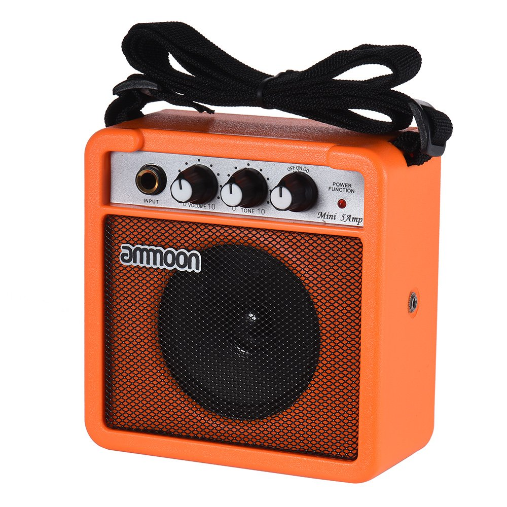 ammoon Guitar Amplifier Mini 5 Watt 9V Battery Powered Amp Speaker for Acoustic/ Electric Guitar Ukulele High-Sensitivity with Volume Tone Control by ammoon
