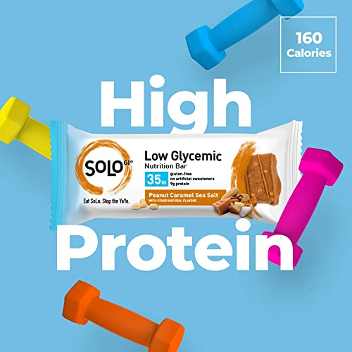 Peanut Caramel Sea Salt, Low Glycemic Protein Bars,Gluten Free,Slow Release Energy, Weight Management, Bars for Pre and Post Workout 10-12 Grams of Protein, 40-50g per Bar, 1 Box of 6 Bars -Solo Bars