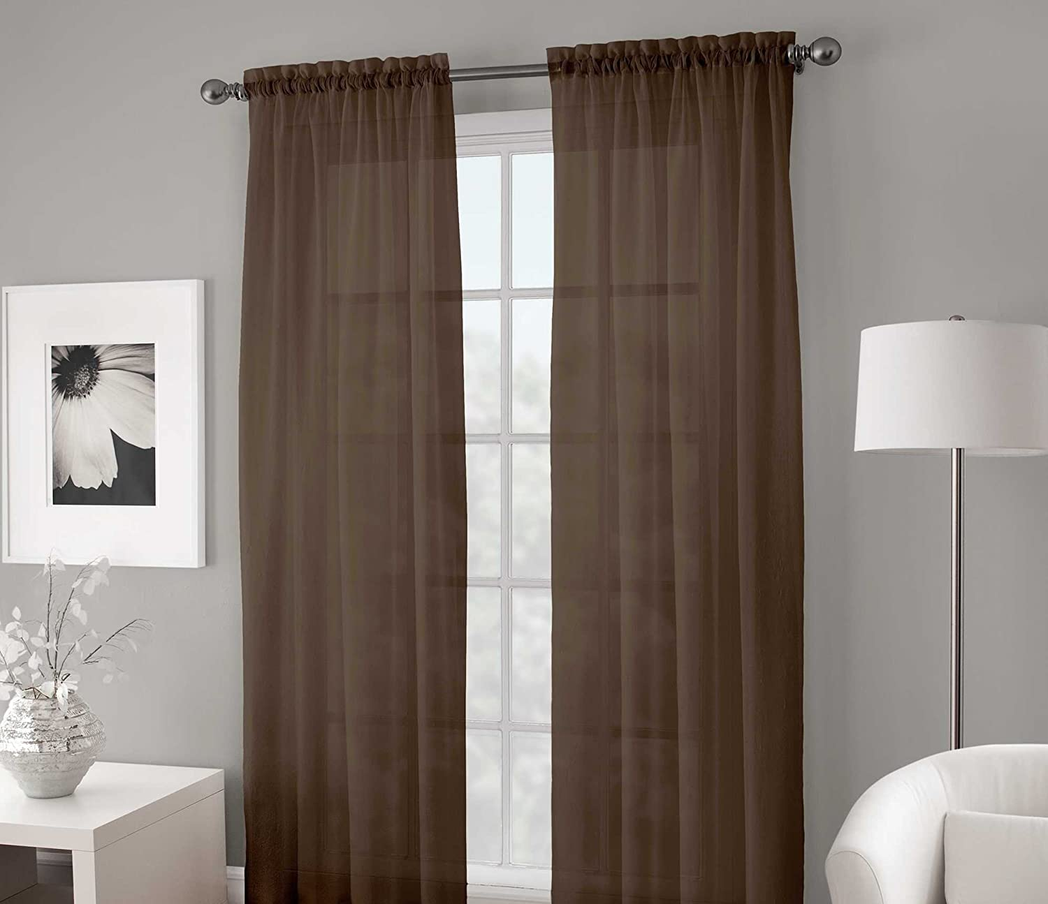 Gorgeous Home 2PC Brown Chocolate Solid Soft Voile Sheer Window Curtain Panels Drapes 54