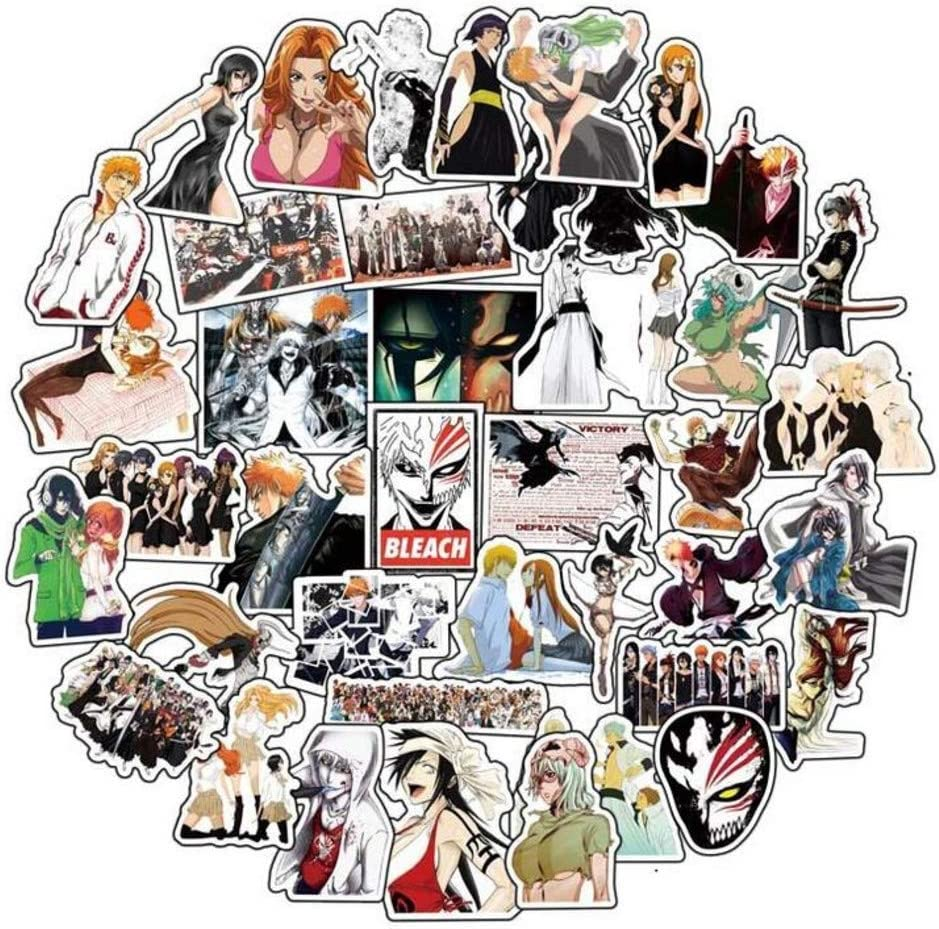 Anime Themed Bleach 50 Piece Sticker Decal Set for Kids Adults - Laptop Motorcycle Skateboard Decals