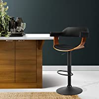 Artiss Bar Stool Leather Wooden Seat Gas Lift Base - Black