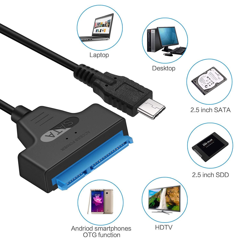 Cables USB a SATA para 2.5 SATA SSD//HDD SATA USB 3.0 Convertidor UASP 5Gbps GeekerChip Adaptador de Disco Duro USB 3.0 a SATA