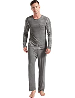239caf83437c87 Suntasty Men s Striped Crew Neck Long Sleeve Top with Lounge Bottom Pajama  Set