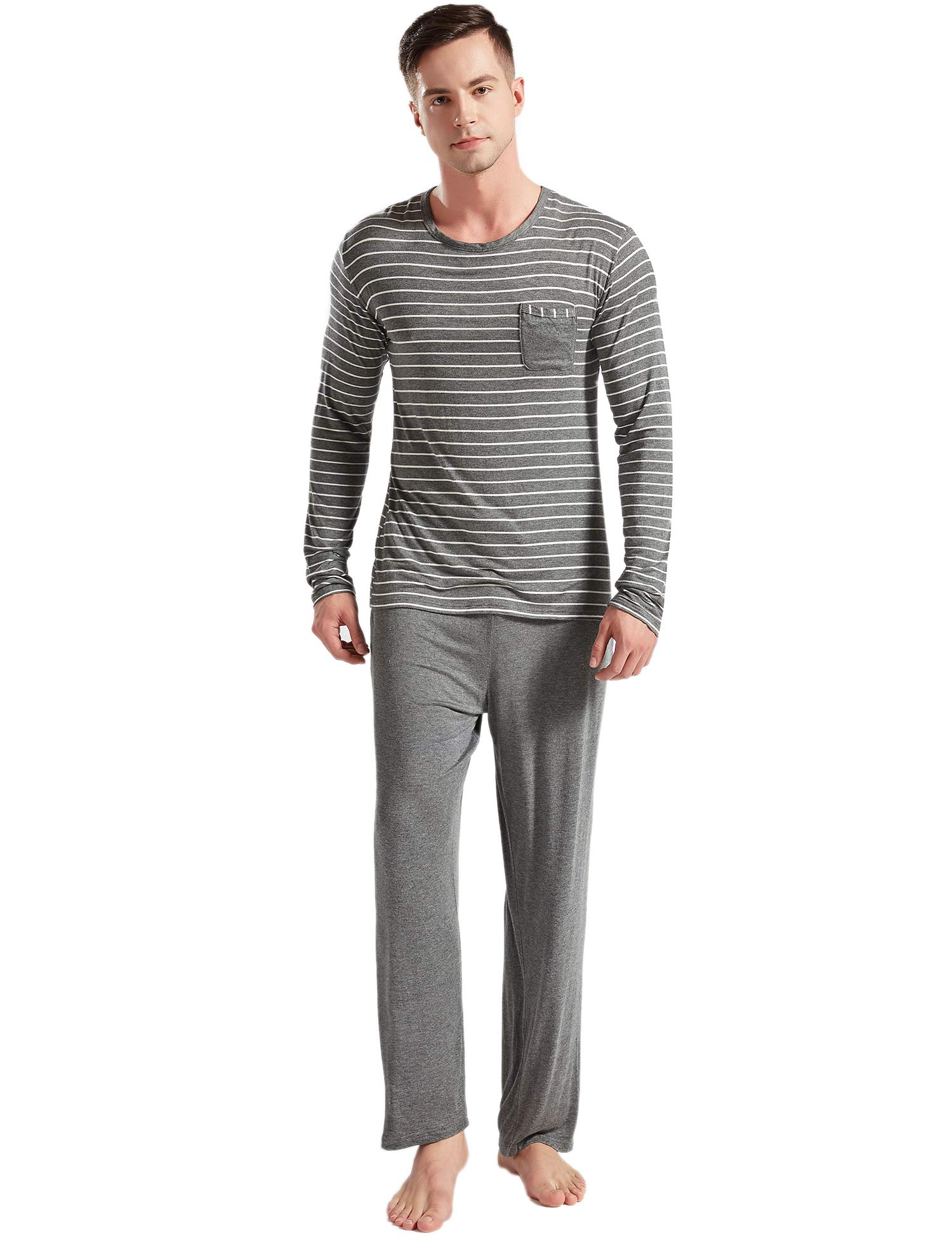 Suntasty Men's Pajamas Cotton Soft Classic Striped Crew Neck Lounge Sleepwear 2 Piece Set Long Sleeve Top with Pant Grey S