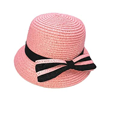 HCIUUI 2018 New Lovely Baby Straw Hat Summer Kids Fedora Hat Lovely Bow tie  Beach Cap f7fd761b10b2