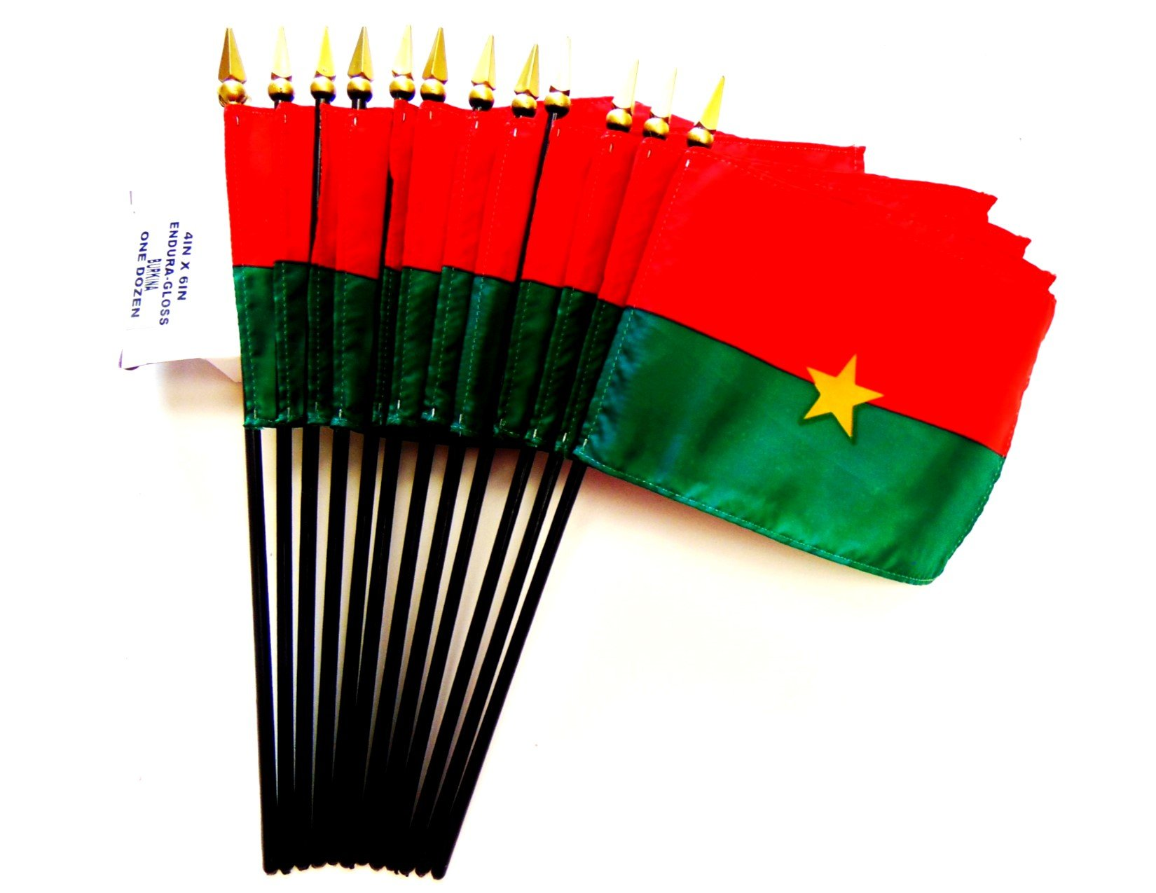 Made in USA!! Box of 12 Burkina Faso 4''x6'' Miniature Desk & Table Flags; 12 American Made Small Mini Burkinabe Flags in a Custom Made Cardboard Box Specifically Made for These Flags