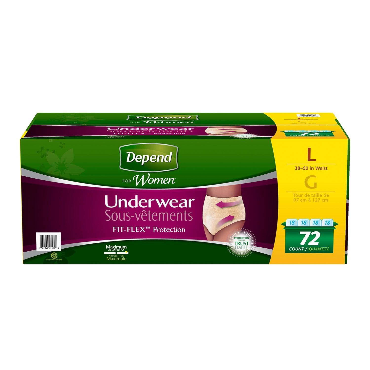 Depend for Women Underwear, Maximum Absorbency, Large (72 ct.) (pack of 2)