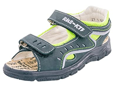 743232bcbfcb4 Kotofey Boys Grey and Green Sandals 522053-21 Genuine Leather Shoes For Kids  - Orthopedic