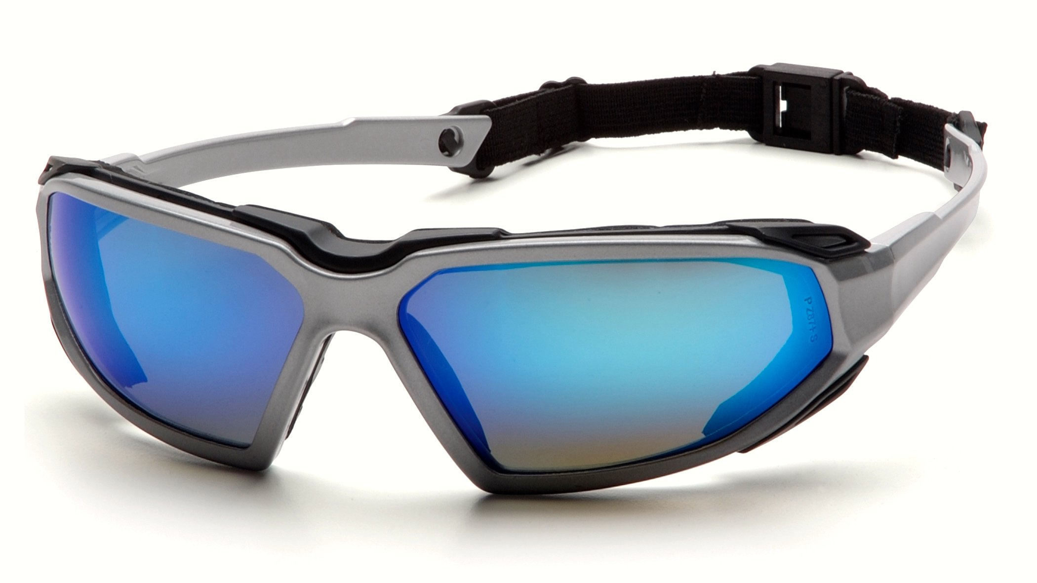 Pyramex Highlander Safety Eyewear, Silver-Black Frame/Ice Blue Mirror Anti-Fog Lens
