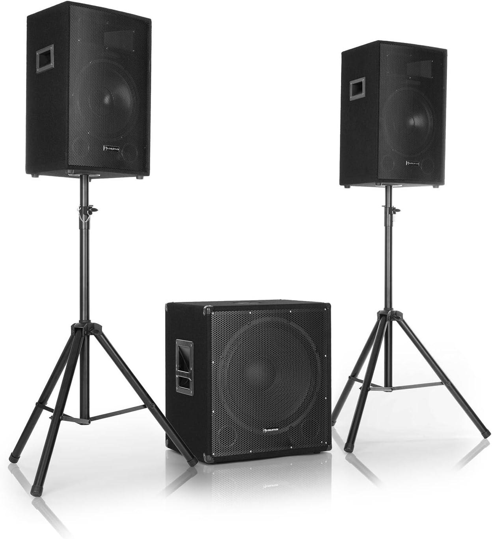 auna Cube 1812 - Equipo de PA 2.1, 1600 W de Potencia Total, Subwoofer de 46 cm, 2 Altavoces de 30 cm, Tecnología para biamplificar, Eco, Control de Graves y Agudos, Incluye Accesorios, Negro