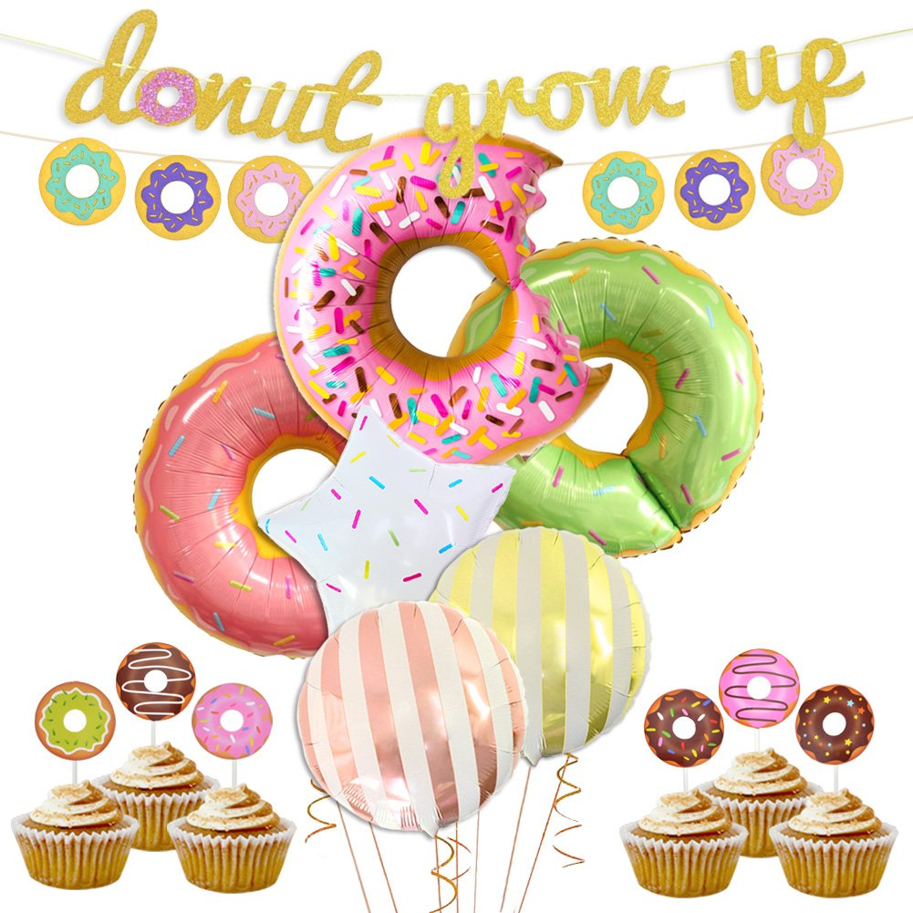 LUCK COLLECTION Donut Party Decorations Donut Grow Up Banner Mylar Balloons Cupcake Toppers for Donut Birthday Party Decorations by LUCK COLLECTION