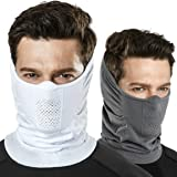 TSLA Unisex 1 or 2 Pack Lightweight Cool Neck Gaiter, UPF 50+ Protection Face Mask for 4-season Outdoor Sports Windproof