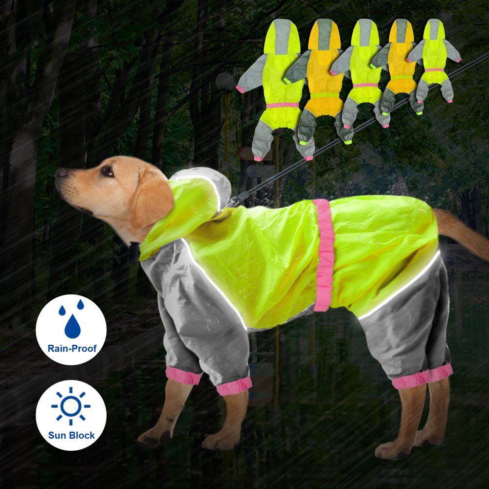 Reflective Waterproof Dog Raincoat - Lightweight and Breathable Hooded Rainwear for Medium Large Dogs - Green,31.5'' Back 35.5'' Chest for 2X-Large Dogs by Beirui (Image #2)