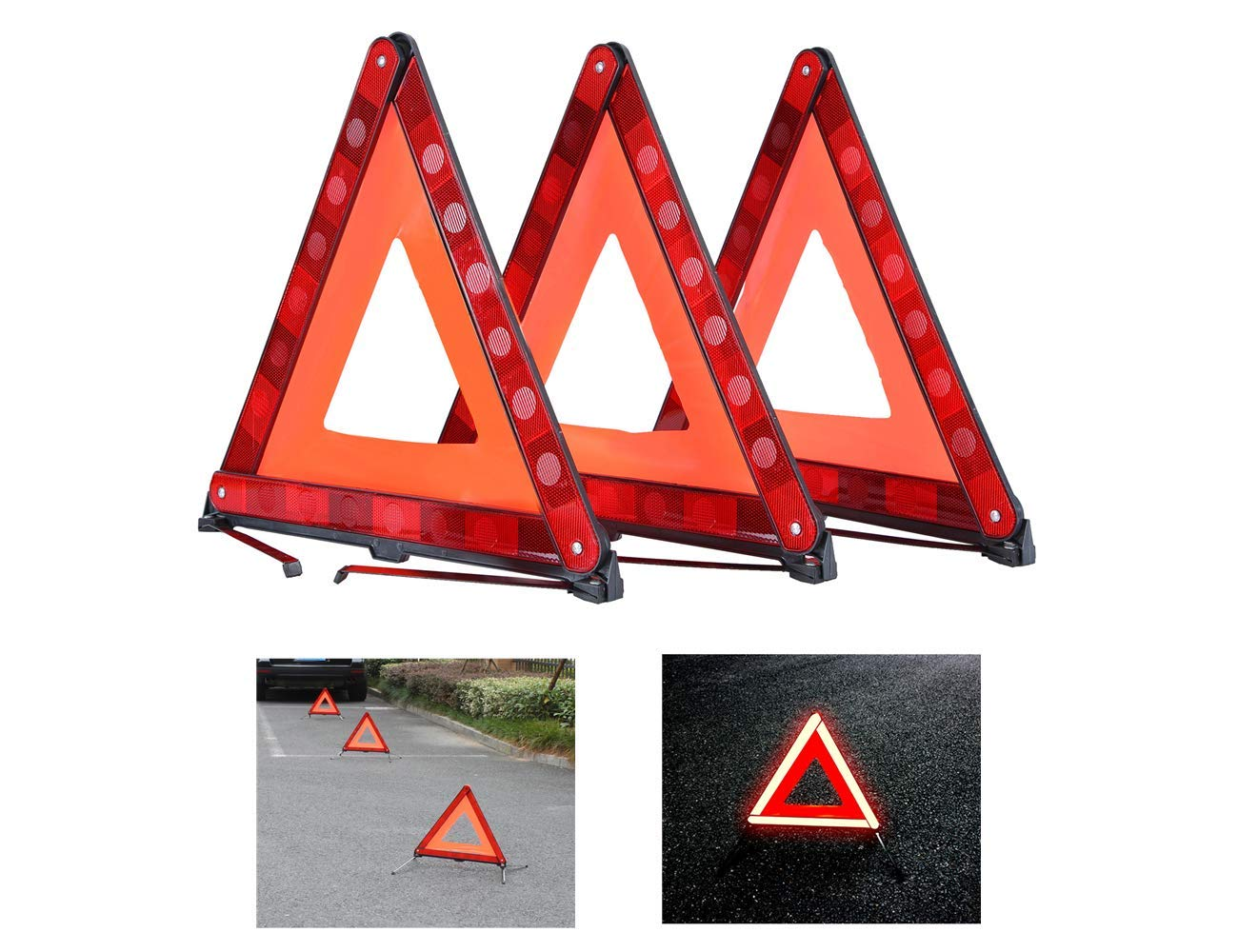 ATP Triangle Warning Frame Triangle Emergency Warning Triangle Reflector Safety Triangle Kit 3 Pack