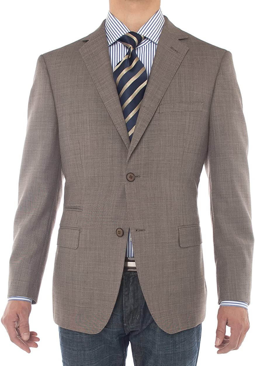 Luciano Natazzi Mens Two Button 160'S Wool Blazer Coat Ticket Pocket Suit Jacket