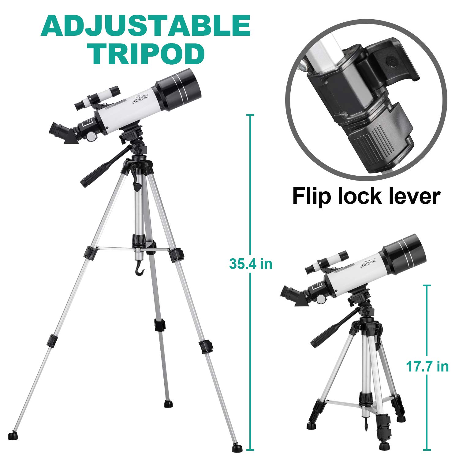MAXLAPTER Telescope for Kids and Beginners, 70mm Travel Refractor Telescope for Astronomy with Adjustable Tripod, Smartphone Adapter, Camera Shutter Wire Control, Backpack by MAXLAPTER (Image #9)