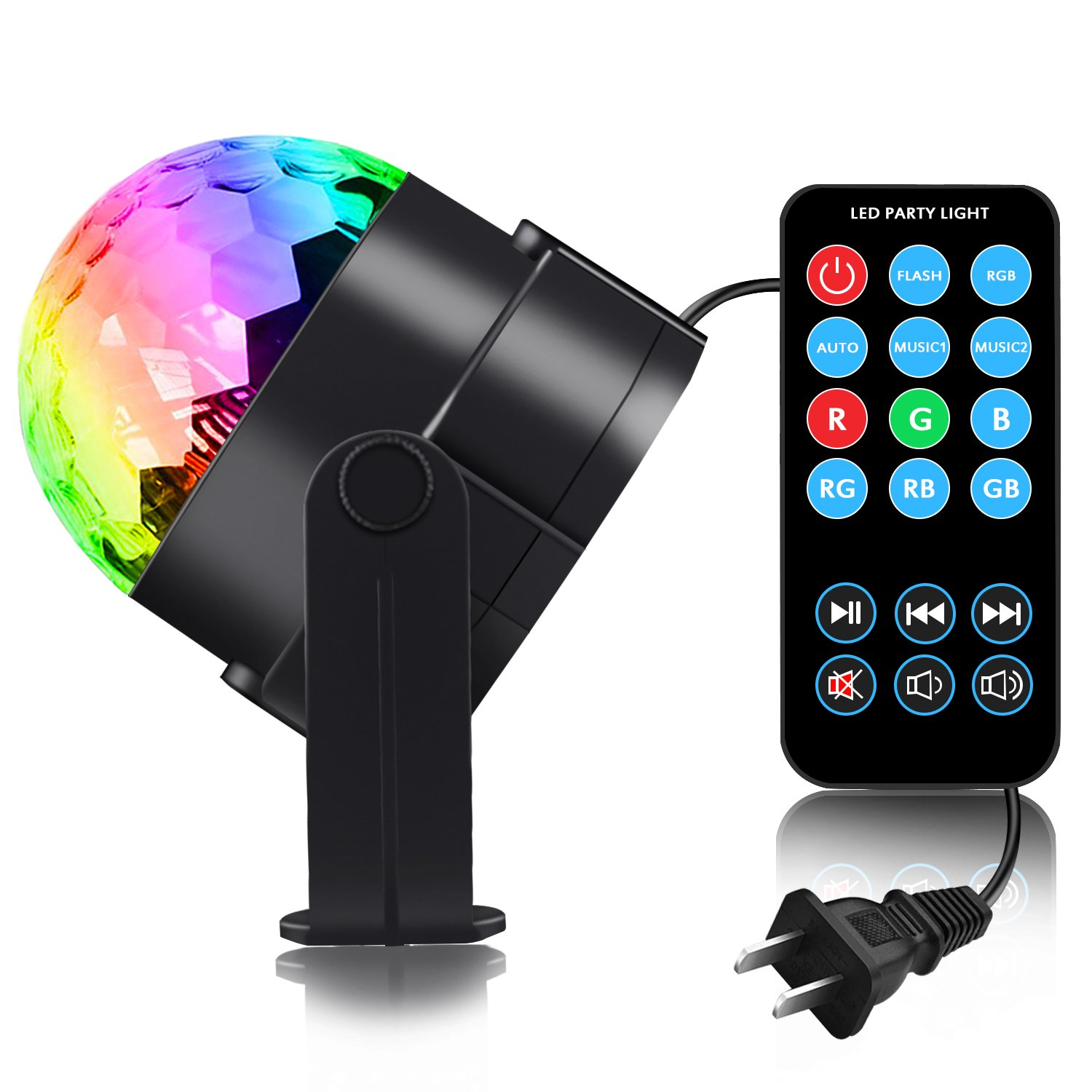 Spriak Disco Light Disco Ball LED RGB Party Lights Sound Activated Multiple Modes Supplies Strobe Light Dance Light for Kid, Parties, Bedroom, Birthday (with Remote)