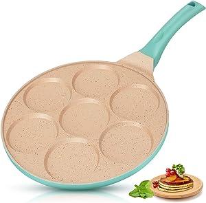 KUTIME Pancake Pan 7-Cup Mold Blini Pan Silver Dollar Pancake Pan Non-stick Breakfast Griddle Mini Pancake Maker Fried Egg Cooker Blue