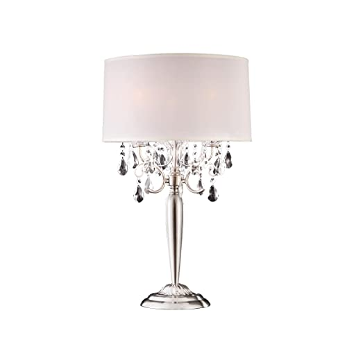 Ok Lighting OK-5109T Crystal Silver Table Lamp, 16 x 16 x 30