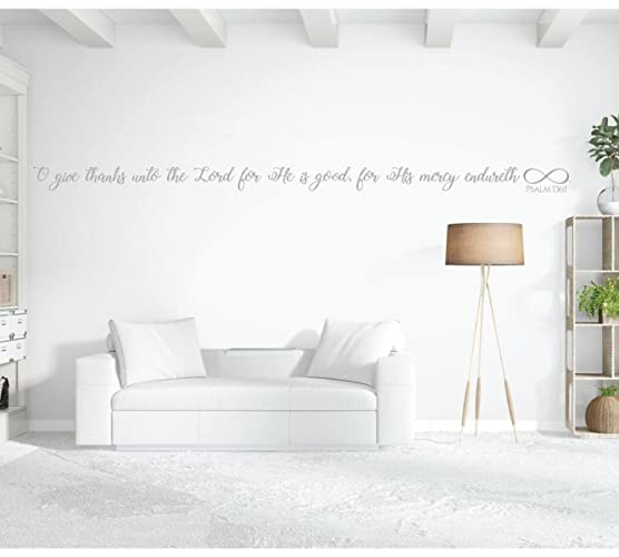 Amazon.com: Bible Verse Wall Art with Infinity Sign - Psalm 136:1 ...