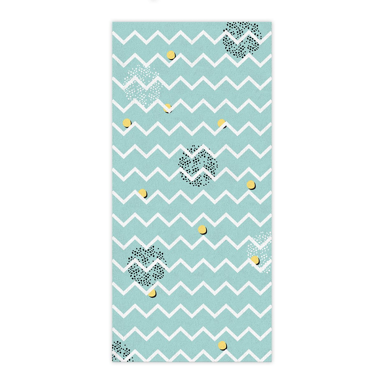 OxOHome Custom Bath Towel Quick Dry Absorbent Towels Spa Shower Wrap for College Dorms, Gyms, Locker Rooms, 27.5 x 55 inch - White Chevron Stripe Waves Mint Green Yellow Black Dot