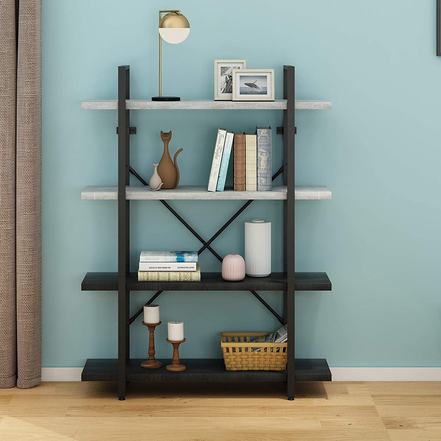 O&K Furniture 4-Tier Bookshelf, Modern Industrial Etagere Bookcase, Open Standing Shelving Unit for Home Office Study--Height: 55 Inch