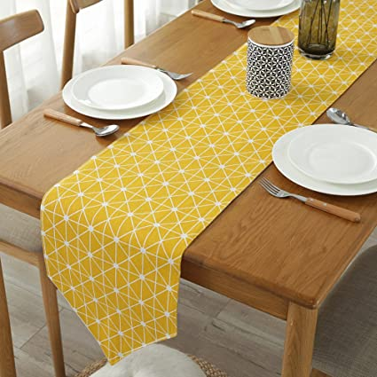 ColorBird Diamond Checkered Table Runner Cotton Linen Runners for Kitchen  Dining Living Room Table Linen Decor (12 x 70 Inch, Yellow)