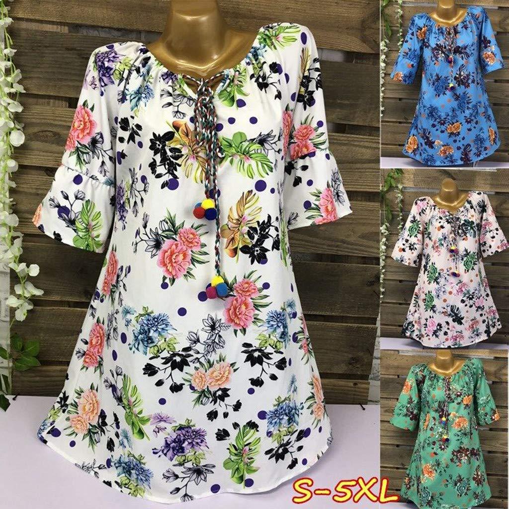 PASATO S-5XL Plus Size Women's O-neck Casual Floral Print Half Tank Sleeveless Short Dress(Green,XXXXL=US:XXXL) by PASATO Dress (Image #3)