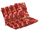 Bossima Indoor/Outdoor Red/Brown Floral High Back