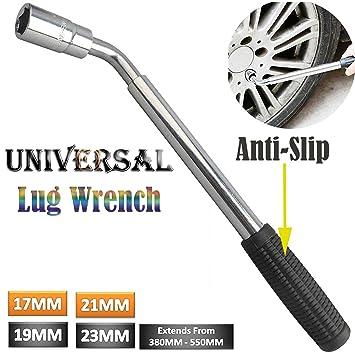 Llave de rueda telescópica extensible poste llave inoxidable coche Van universal - Rueda de repuesto Kit 4 tamaños 17 19 21 23 mm - tuerca (Socket: ...